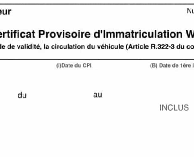 Certificat Provisoire WW