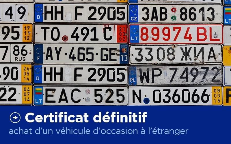 Certificat d'Immatriculation Définitif - Carte Grise - X'Press Formalités